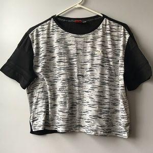 Puma athleisure fun print mesh sleeve crop top